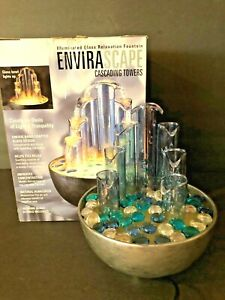 Envirascape tabletop cascading illuminated glass relaxation fountain works