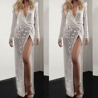 Womens Sequin Long Sleeve Deep V Side High Slit Party Ball Gown Long Maxi Dress