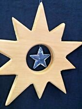 Swarovski Crystal Christmas Star Sun Catcher Wood Rainbow Wiccan Waldorf Natural