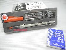 Pilot 1.5mm Parallel Plate Nib Calligraphy Pen Set + 6 Blue Cartridges