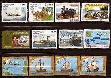 NICARAGUA 12 timbres oblitérés, bateaux,avions,trains PR362