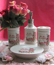 Paris French Eau De Toilette Provincial ~ Le Rose ~ Ceramic Bathroom 4 Pce Set