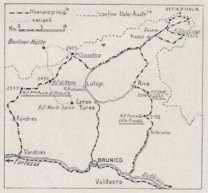 D8849 Dolomites - A Centered - Map Period - 1926 Vintage Map