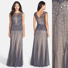 NWT Adrianna Papell Beaded Chiffon Gown Illusion Gunmetal [4 4P] #M217