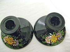"Lot 2 Older Black Glass Hand Painted floral Candle Holders-4 3/4"" diameter base"
