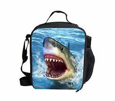 Blue Shark Insulated Lunch Bag Portable Lunchbox Kids School Food Storage Bags
