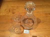 Stunning, Heavy, Cut Glass Decanter & 2 Whisky Glasses