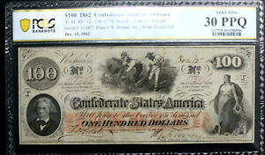 T-41 $100 1862 Confederate Currency CSA PCGS 30 PPQ VERY FINE PF12 R4