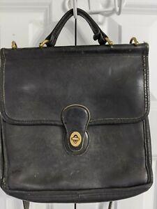 Vintage Coach Crossbody Messenger Bag Purse Black Leather Gold Hardware Medium