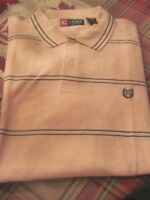 CHAPS Golf Polo Shirt Light Pink w/ Navy Stripe XXL 100% Cotton NEW
