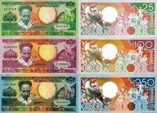SURINAME  - Lot Lotto 3 banconote 25/100/250 GULDEN 1986 FDS - UNC