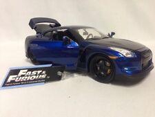 "FAST FURIOUS 7 BRIAN'S 2009 NISSAN GT-R (R35) 8.25""  DIECAST 1:24 JADA TOY BLUE"