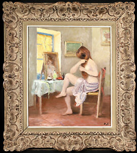 MARCEL DYF (1899-1985) LARGE SIGNED FRENCH OIL CANVAS - NUDE GIRL DOING HER HAIR