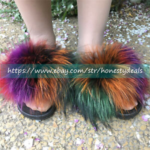 Multicolored Real Raccoon Fur Slides Beach Slippers Flat Summer Sandals Shoes