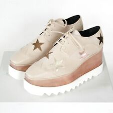 STELLA McCARTNEY wood platform Elyse Percy metallic stars oxford shoes 41 NEW