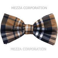 New formal men's pre tied Bow tie plaid & checkers formal wedding party brown
