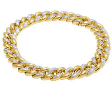 "Men's 10K Yellow Gold Genuine Diamond 9 MM Miami Cuban Link Bracelet 1 1/2 CT 8"""