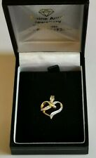 DIAMOND & GOLD LOVE HEART PENDANT 9ct yellow tapered bail 13 x 12mm