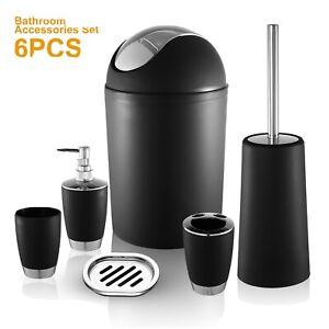 6PCS Bathroom Accessories Toothbrush Holder Soap Dispenser Soap Dish Trash Can