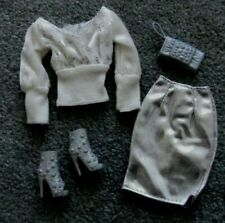 Barbie Doll Clothes - SILVER SKIRT, WHITE TOP, SHOES, PURSE