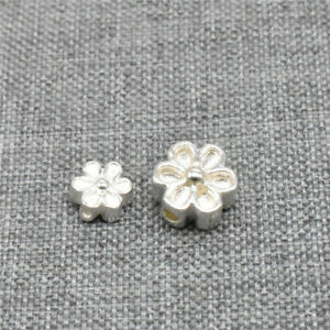 8pcs of 925 Sterling Silver Small Daisy Flower Beads 2-Sided for Floral Bracelet