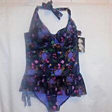 SwimSuit L Marilyn Monroe One Piece Black Floral Swim Skirt Push Up Retro NWT