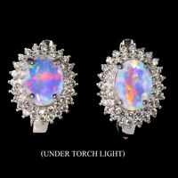 Unheated Oval Fire Opal Hot Rainbow 8x6mm White Cz 925 Sterling Silver Earrings