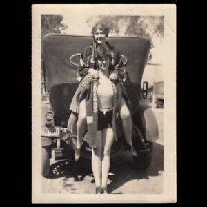 CROTCH HUMP BATHING SUIT WOMEN LESBIAN MOMENT on CAR TIRE ~ 1920s VINTAGE PHOTO