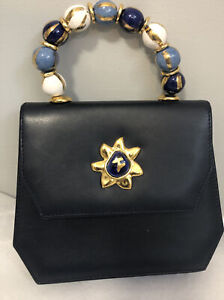 Blue Leather bag large beaded handle by Eduoard Ramboud Paris
