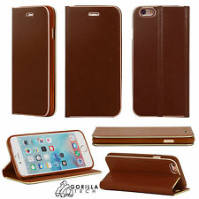 Ultra Slim Genuine Luxury Magnetic Flip Cover Leather Case for Mobile PHONES Apple iPhone 6s/6 Brown