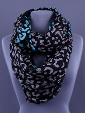 Infinity Black Gray Turquoise Blue 36 x 36  New Women Fashion Neck Scarf