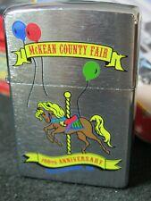 Zippo Lighter 2005. 100th Anniv. Mckean County Fair. Tin Zippo Car Box & Plastic