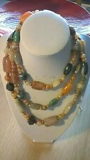 "Bead Necklace, 48"" long aprox Vintage Coloured Pollished Agate /Stone"