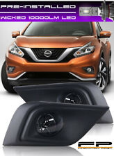 For 2015-2018 Nissan Murano Clear Lens Fog Lights Complete Kit + WICKED Cree LED