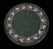 "15"" Green Marble Corner Table Top Inlay Pietra dura Arts Handmade work"