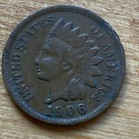 FREE SHIP! VF 1906 Indian Head Cent -115 Yr Old Penny Very Fine US Type Coin L1
