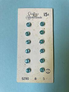 VTG Schwanda Button Card  - 12 Teeny Tiny Aqua Blue Plastic Baby Buttons