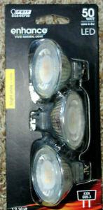 3 Feit Enhance 50W 50 Watt MR16 GU5.3 Dimmable LED Light Bulb Bright White 12V