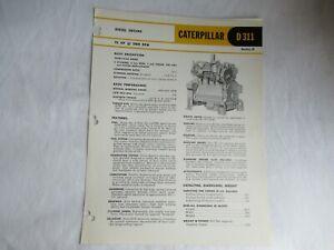 1960 CAT Caterpillar D311 engine series H specification sheet  brochure