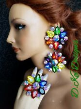 drag queen jewerly new pride show dragqueen Ring earrings clip rainbow ring
