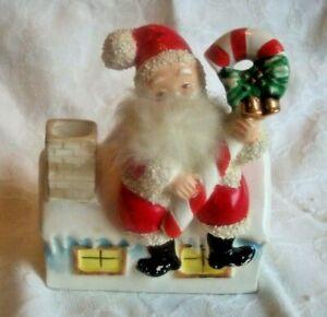 Vintage Japan Ceramic Santa Claus Christmas Chimney Figure Planter See Pics