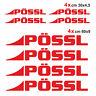 Kit completo 8 adesivi per camper Pössl ROSSO loghi possl caravan roulotte