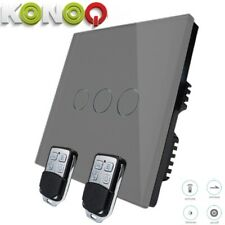 KONOQ Lux.Glass Panel Touch LED Light Smart Switch:GREY REMOTE DIMMER 3GANG/1WAY