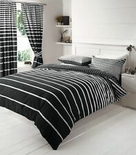 Queen Size Bed Quilt/Duvet Cover+Pillowcase Set-Black White Stripe Design