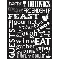 Drink Food Wine Kitchen Words Black Quote Unframed Wall Art Poster
