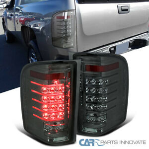 For 07-14 Chevy Silverado 1500 2500 3500 Pickup Smoke LED Tail Lights Rear Lamps