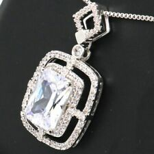 Gorgeous White Moissanite Necklace Women Engagement Jewelry Gift 14K Gold Plated