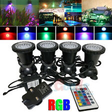 Lot 4 x Rgb 36 Led Submersible Pond Spot Lights Underwater Pool Fountain +Remote