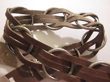 ITALIAN VINTAGE LEATHER BELT HEAVY THICK METAL 46 INCH LOOPED MADE IN ITALY