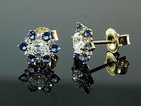 585 Gold Ohrstecker mit blauen Saphir Steinen und Zirkonia  8,2 mm  1 Paar